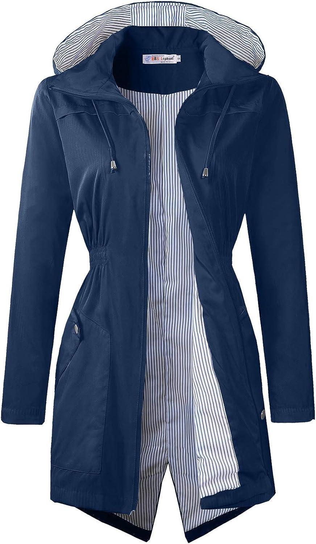 BBX Lephsnt Rain Jacket Waterproof Lightweight Raincoats for Women Hooded Windbreaker Coats