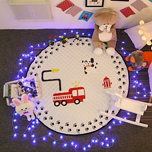 """Cheap Baby Crawling Mats, 60""""Diameter Super Cute Floor Playmats, Animal Early Education Round Carpet by Sportsvoutdoors (Dog & Fire Engine)"""