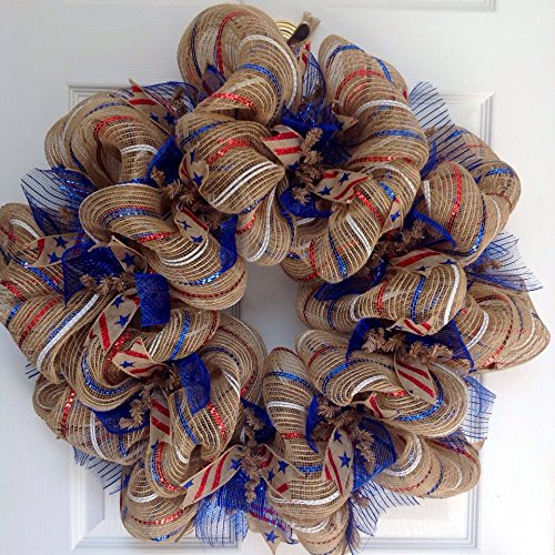 Burlap Striped Red White and Blue Patriotic Ribbon Deco Mesh Wreath