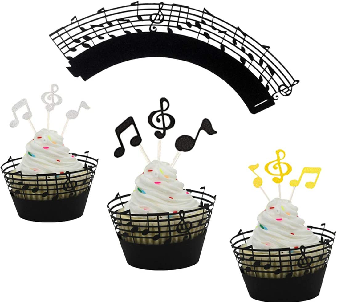 (Set of 60) Music Notes Cupcake Topper Music Notes Cupcake Wrappers Lace Muffin Case Cupcake Paper Liner,Music Notes Decorations Party Supplies Birthday Cake Decorating Tools Baby Showers Party