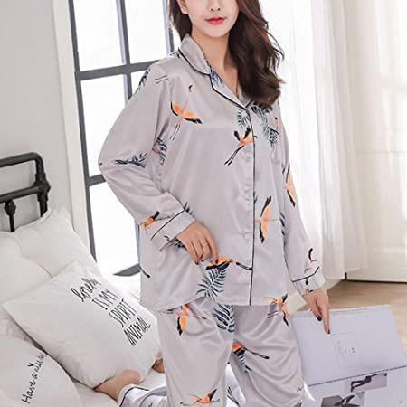 JYLW Pijamas Invierno Mujer Pijamas De Satén De Seda para ...