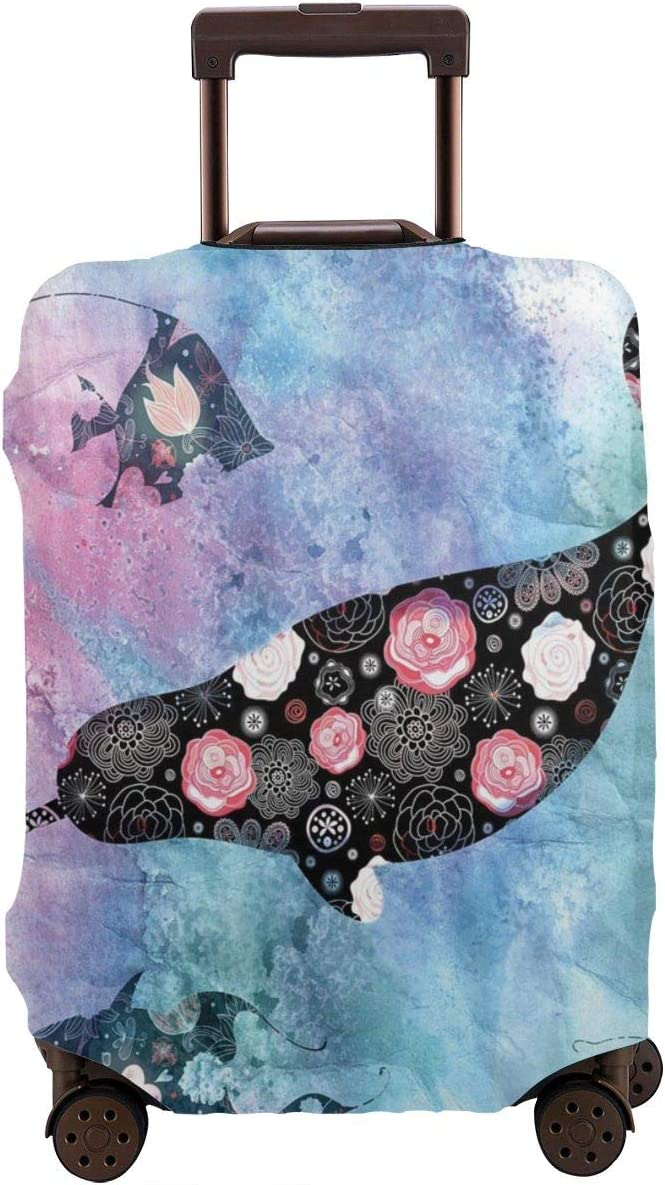 Luggage Cover Narwhal Floral Whale Psychedelic Protective Travel Trunk Case Elastic Luggage Suitcase Protector Cover