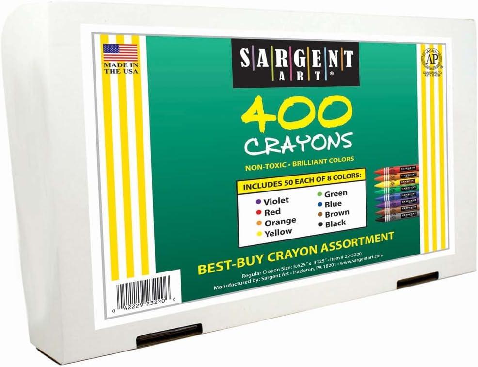 Sargent Art 400-Count Regular Crayon Class Pack 22-3220 8 Colors Best Buy Assortment