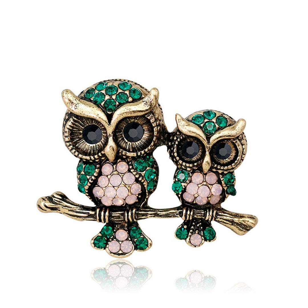 RHINE-VBRACH Rhinestone Owl Brooch Mam and Kids Bird Brooches Women Men Jewelry Suit T-Shit Accessories Summer Style