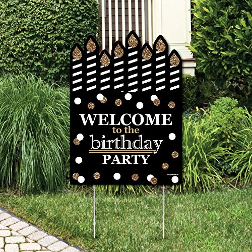 Big Dot of Happiness Adult Happy Birthday - Gold - Party Decorations - Birthday Party Welcome Yard Sign
