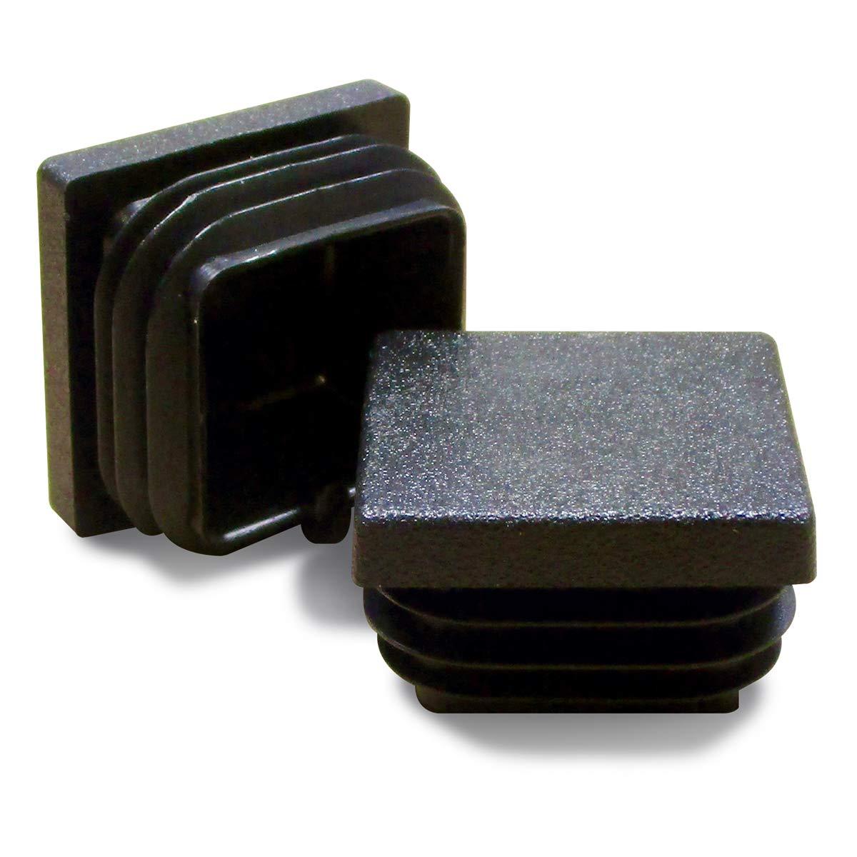 ajile - 4 piezas - Contera acanalada para tubo cuadrado 30 x 30 mm - NEGRO - EPC130