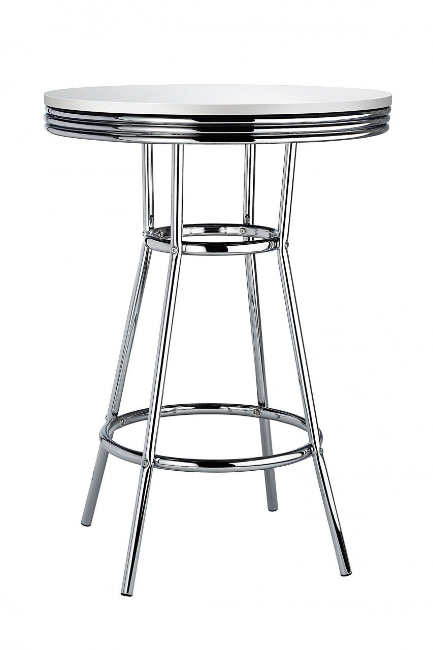 Costantino Detroit American Diner Style Retro Bar Table White