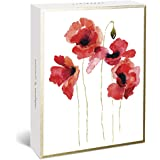 """Graphique Watercolor Floral Assorted Boxed Notecards, 20 Embellished Gold Foil Flower Cards on Coated Durable Cardstock, with 4 Designs, Matching Envelopes and Storage Box, 4.25"""" x 6"""" (BM1170)"""