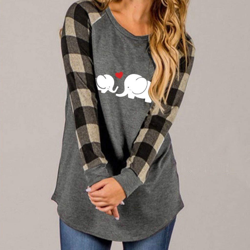 Toimothcn Plaid Shirt Womens Plus Size Long Sleeve Tunic Tops Christmas Pattern Printed Blouse Tops