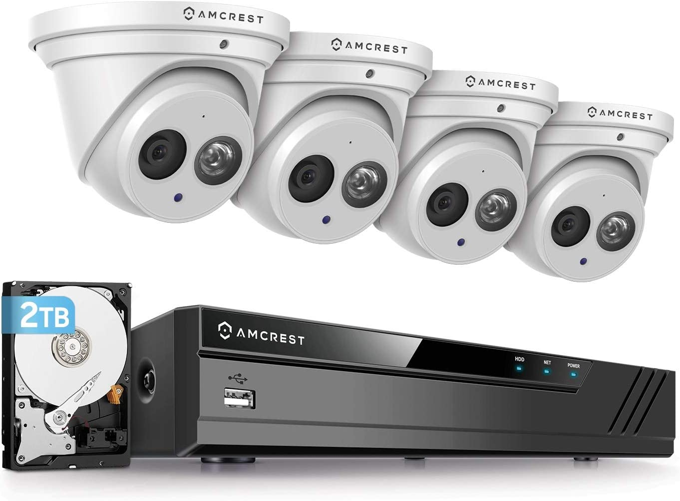 Amcrest 4K Security Camera System w/ 4K 8CH PoE NVR, (4) x 4K (8-Megapixel) IP67 Weatherproof Metal Turret Dome POE IP Cameras (3840x2160), Pre-Installed 2TB HDD, NV4108E-IP8M-T2499EW4-2TB (White)
