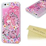 iPhone 6S Plus Case, iPhone 6 Plus Case, Mavis's Diary Bling Sparkle Flowing Liquid Quicksand Moving Sequins Painted Unicorn Flower Protective Hard PC Back Cover with Soft TPU Rubber Frame - Unicorn