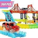 トラック車おもちゃセット柔軟なアセンブリキット、360個2Vehicles 4LEDライトShining Atダークfor Kidsギフト