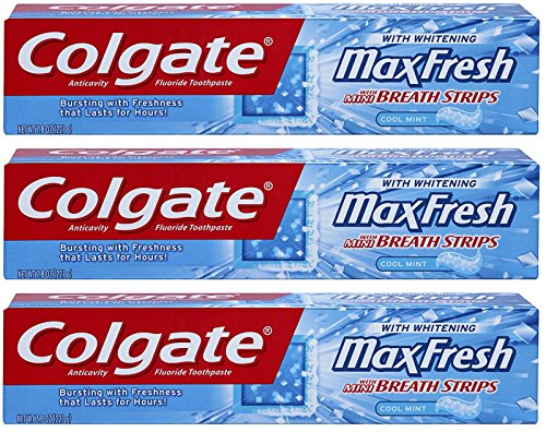 Colgate Max Fresh Fluoride Gel Toothpaste, with Mini Breath Strips, Cool Mint, 7.8 Ounces (Pack of (Breath Fluoride Toothpaste)