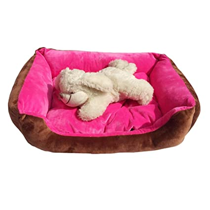 JEELINBORE Lavable Suave Cama para Perro Cómodo Casa Cesta Rectangular para Mascotas (Rose, M