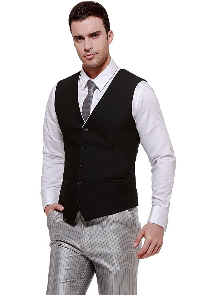 Hanayome Men's 2PC 5 Buttons V-Neck Business Casual Waistcoat Vest VS284 VS284A01
