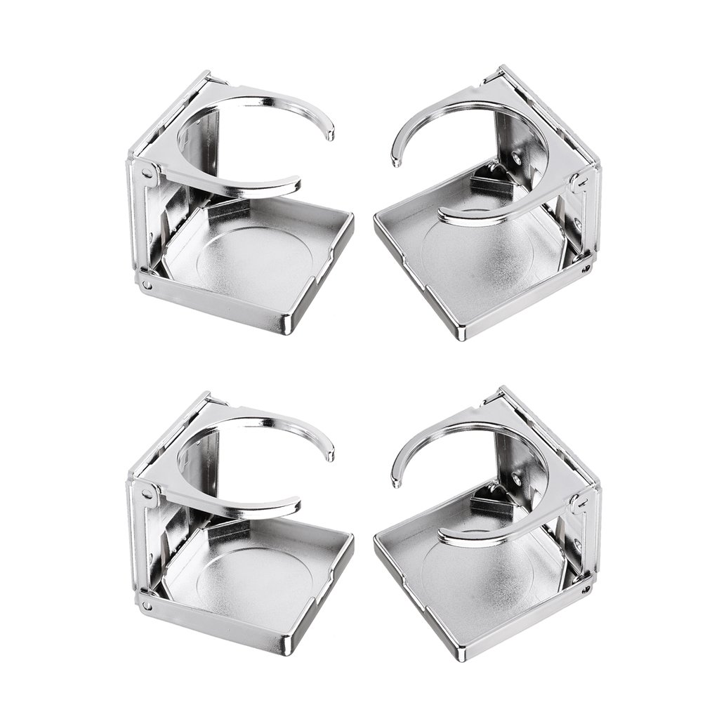Set of 4 Baosity Foldable Beverage Holder Drink Cup Holder for Car Boat Marine Table Football Silver