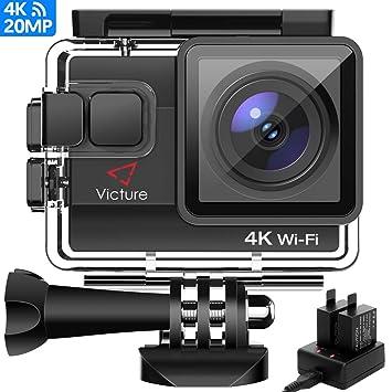 Victure AC800 Cámara Deportiva WiFi 4k Ultra HD 20MP Action Camera Acuatica de 40M con 2 Baterías y Cargador Externo, Funciones Anti-Shaking y Time ...