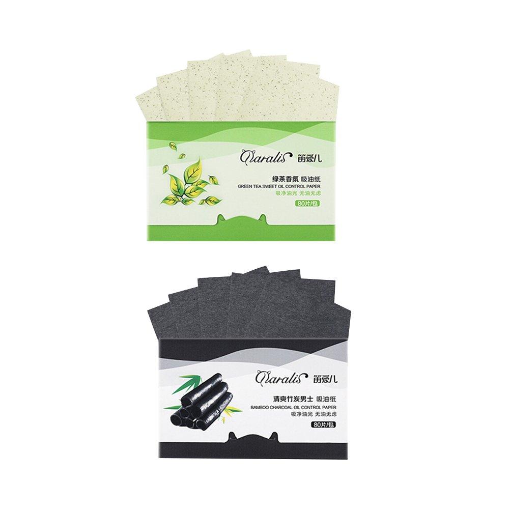 FRCOLOR Tejidos de absorción de aceite de carbón de bambú natural Tejidos de transferencia de té verde de té verde para la piel grasa, cuenta 80 (paquete de 2)