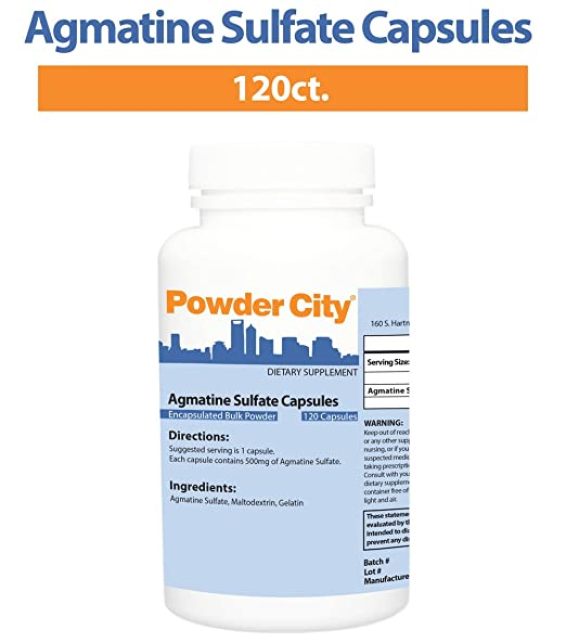 Powder City Agmatine Sulfate Capsules (120 Capsules)