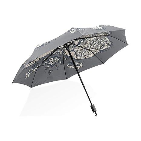 ISAOA Paraguas de Viaje automático Compacto Plegable Paraguas Elefante Vertical Resistente al Viento Ultra Ligero UV