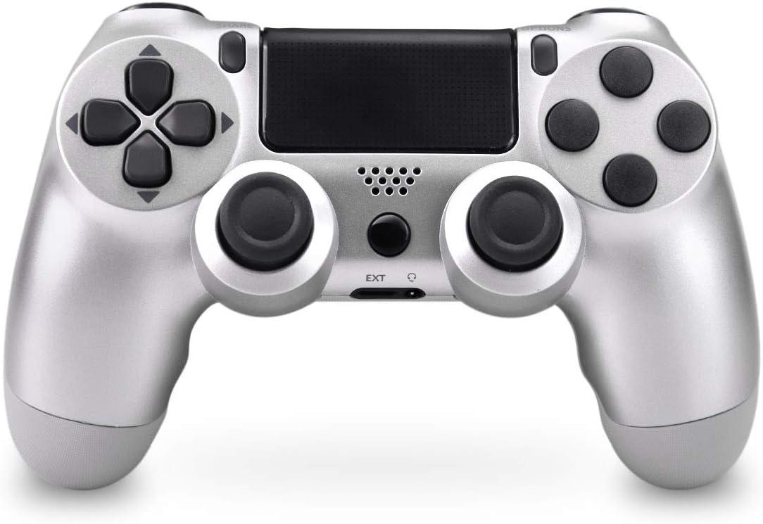 Mando Inalámbrico para PS4, Mando Inalámbrico Gamepad Doble Vibración Seis Ejes Mando Game Compatible con Playstation 4/PS4 Slim/PS4 Pro (Plata)