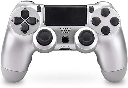 Mando Inalámbrico para PS4, Mando Inalámbrico Gamepad Doble Vibración Seis Ejes Mando Game Compatible con Playstation 4/PS4 Slim/PS4 Pro (Plata): Amazon.es: Electrónica