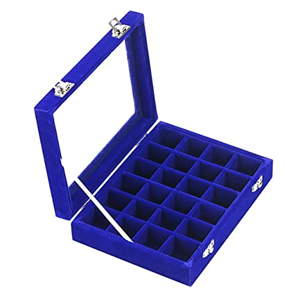 d82906645 Image Unavailable. Image not available for. Color: Ivosmart 24 Section Velvet  Glass Jewelry Ring Display Organiser Box Tray Holder Earrings Storage Case (