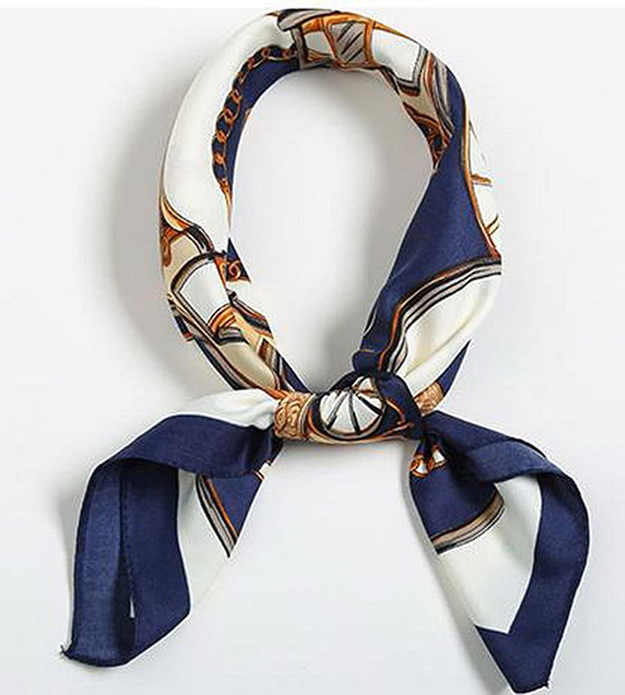 Small Square Scarves Fashion Girls Scarves Decorative Scarf Carriages Dark Blue