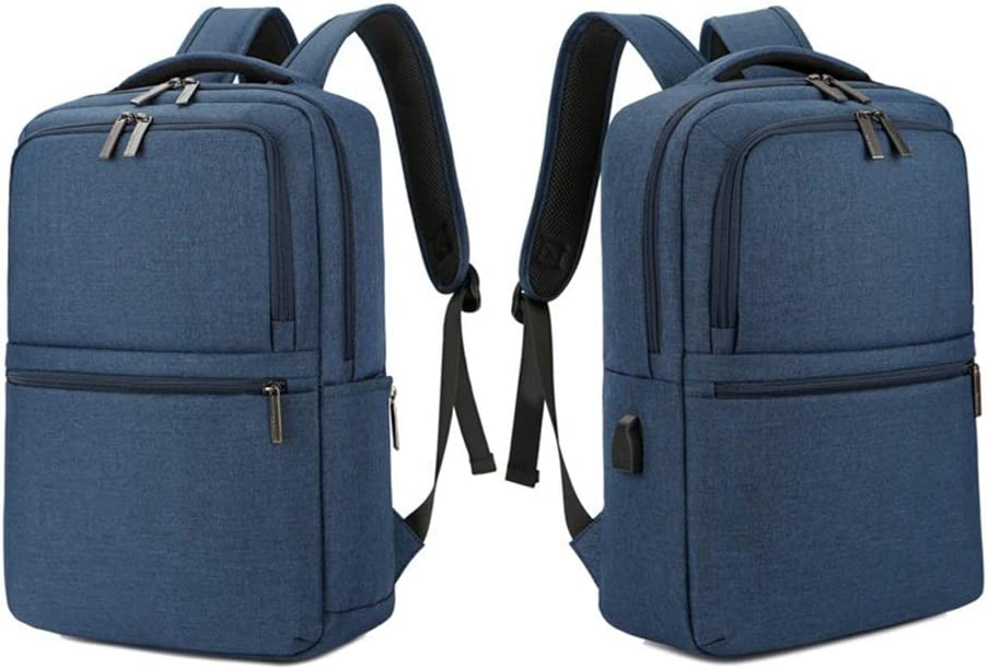 Color : Blue LHQ-Camera Bag Mens Durable Vintage Canvas Backpack School Laptop Bag Hiking Travel Rucksack Brown Camera Bag