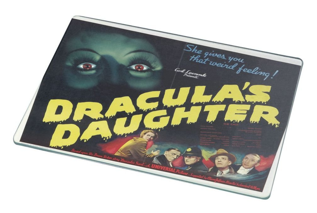 Rikki Knight RK-LGCB-3708 Vintage Movie Posters Art Dracula's Daughter 5 Glass Cutting Board, Large, White