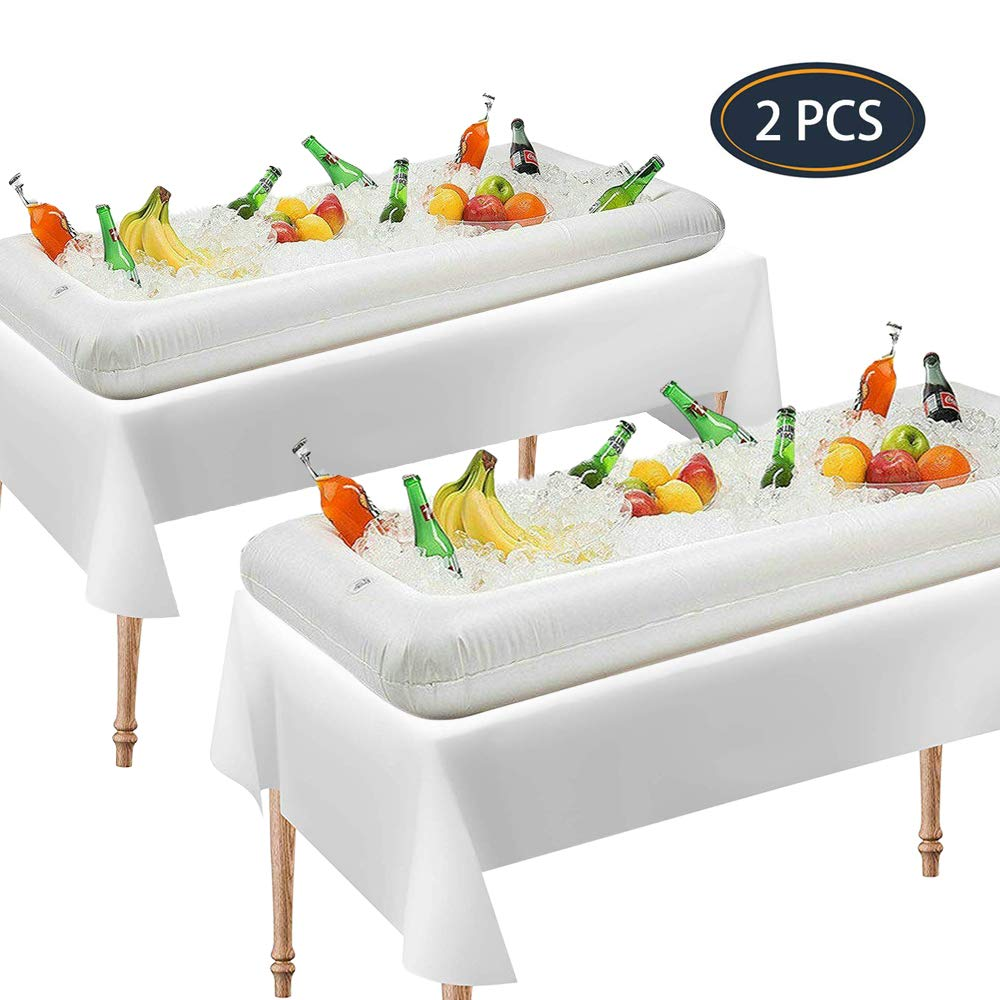 Inflatable Serving Bar Salad Ice Tray Food Drink Containers, BBQ Picnic Buffet & Camping for Indoor Outdoor Party, White 2PCS, 53'' L x 25'' W x 5'' H by IHOMEINF