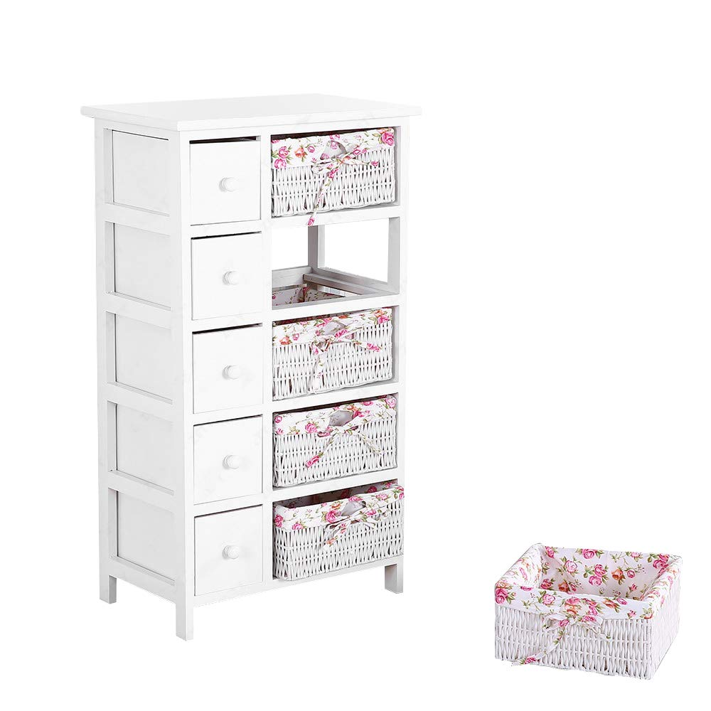 mecor Bedside Cabinet White Chest of Drawers Storage Unit Wooden Wicker Baskets