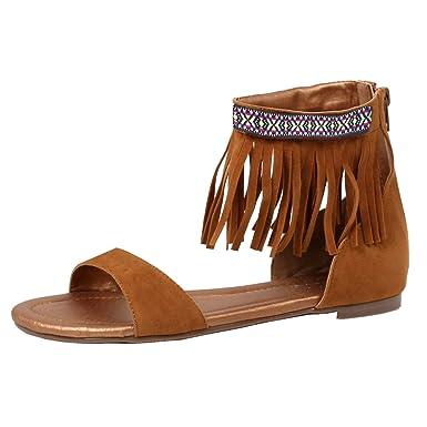 99fda7ab8 Amazon.com  Womens Ankle Strap Flats Fringe Sandals Tribal Indian Costume  Shoes Black Tan  Clothing