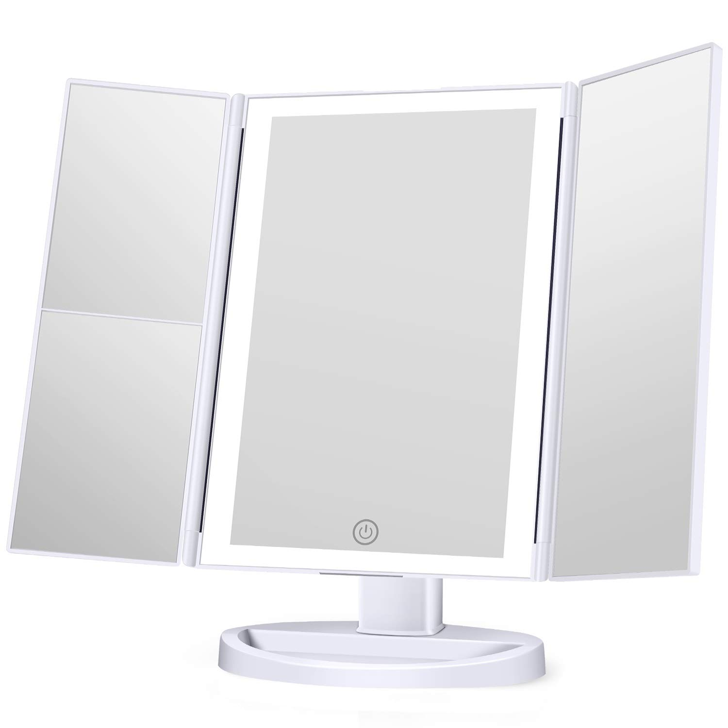 Makeup Mirror with lights, 3 Color Lighting Vanity Mirror with 1x 2x 3x Magnification, Touch Screen Switch, 180 Degree Rotation Rotation, Dual Power Supply, Portable Trifold Mirror