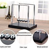 Newtons Cradle with Stainless Steel Balls & Black Wooden Base Dimensions 19*12*19 cm High Quality