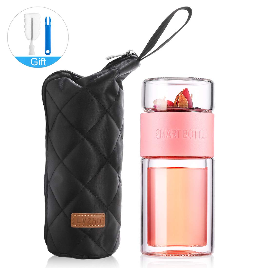 ONEISALL Glass Tea Infuser - 7oz Travel Mug with Strainer, Tea Tumbler Bottle for Loose Leaf Tea, Fruit and Cold Brew Coffee (Pink)
