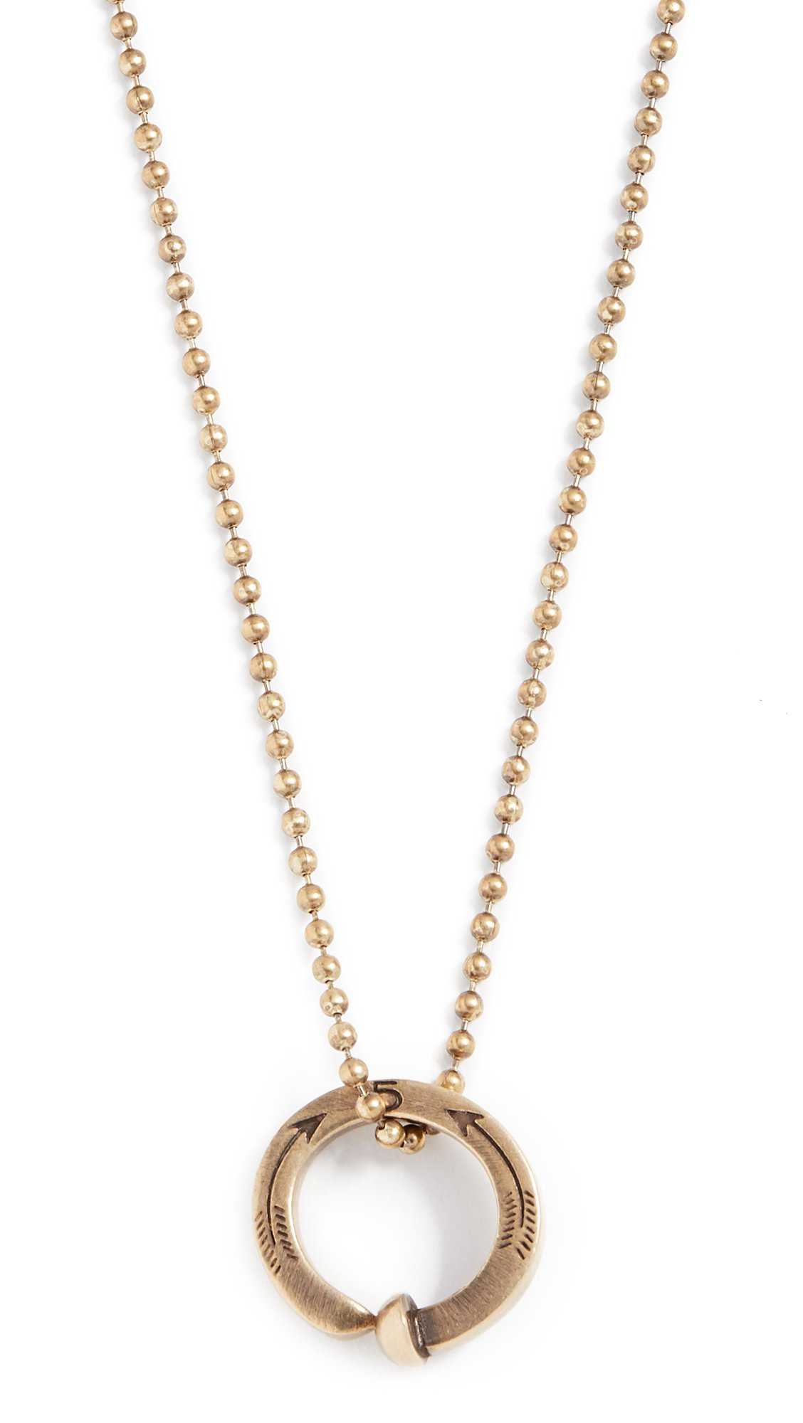 Giles & Brother Men's Railroad Spike Ring Ball Chain Necklace, Antique Brass, One Size