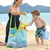 #7: Saumota Multifunction Family Kid Toy Tote Storage Bag Sand Away Beach Mesh Bag Backpack For Swim-Blue/Large