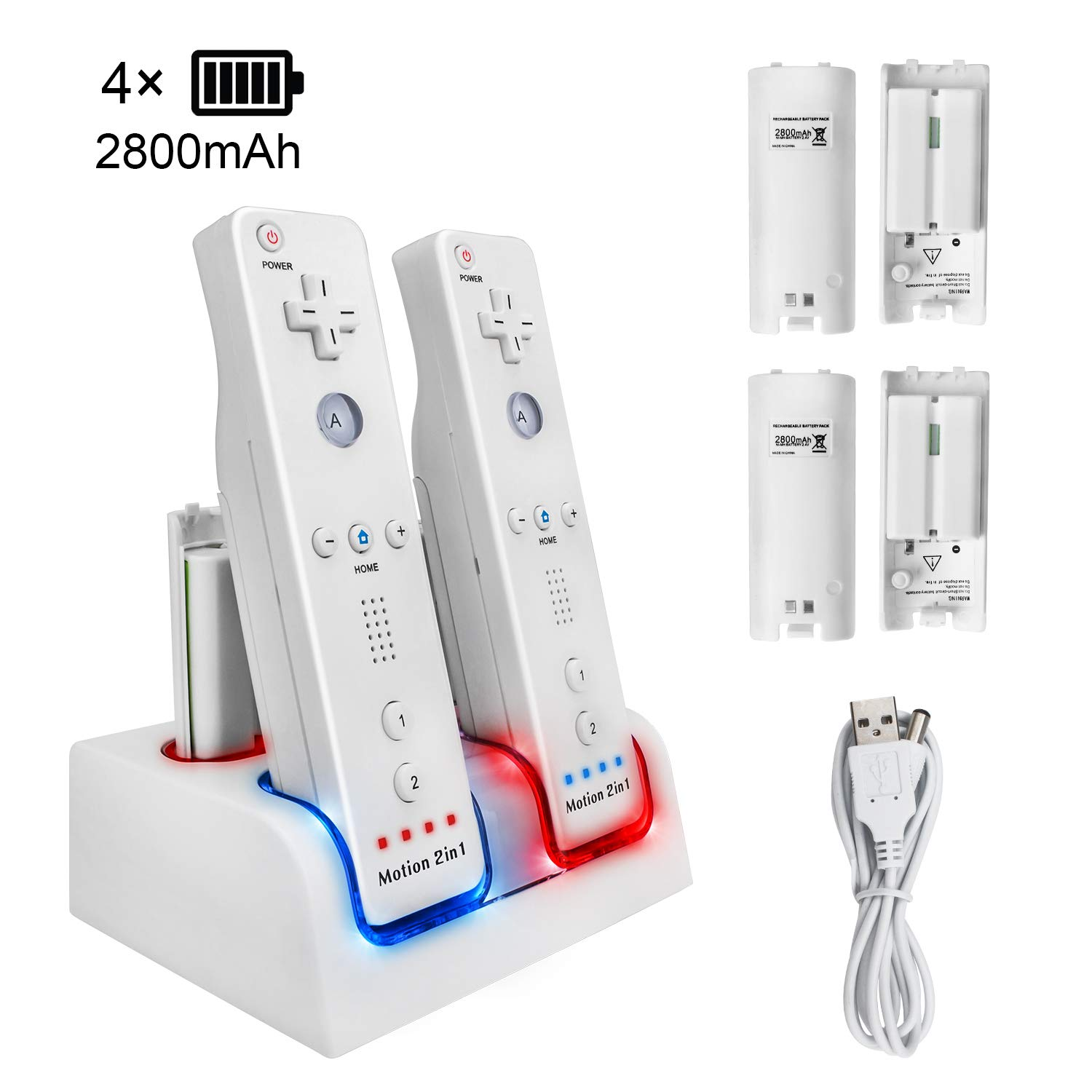 4 Ports Charging Station for Wii Remotes, TechKen Controller Charger Dock Station with 4 Bonus 2800mAh Rechargeable Batteries (Updated Version) by TechKen (Image #1)