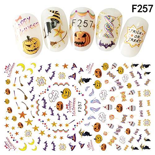 Chezaa Halloween Nail Art Decals, Decorative Funny Manicure Pumpkin Skeleton Stickers Decorations Daily(127.5cm) (F)]()