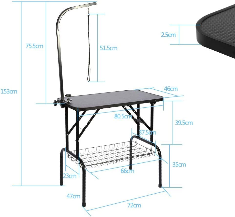Grooming Table for Dogs and Cats Height Adjustable Pet Grooming Folding Portable Iron Table for Grooming and Shower Animals Black