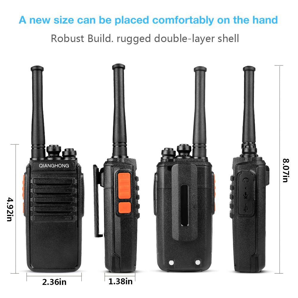 QIANGHONG BF-E50 Portable Rechargeable Long Range Two Way Radios 2 Pack UHF 400-470Mhz Walkie Talkies 4350441270