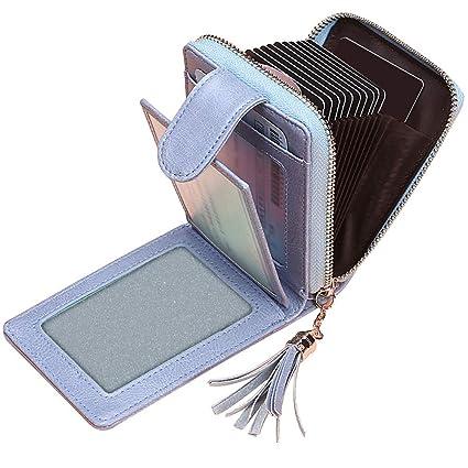 Tarjeteros para Tarjetas de Credito Mujer SAMKING Titular de la Tarjeta de Crédito Carteras de Cuero RFID Monederos con Cremallera (Azul)