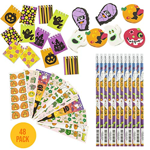 FavonirTM Halloween Stationary Party Favor Collection 48 Set - Holiday Themed Kids Trick Treat Prizes - Pencils - Mini Spiral Books - Assorted Novelty Stickers - Ghost And Pumpkin Shaped Erasers - Reward Prizes, Carnival Events