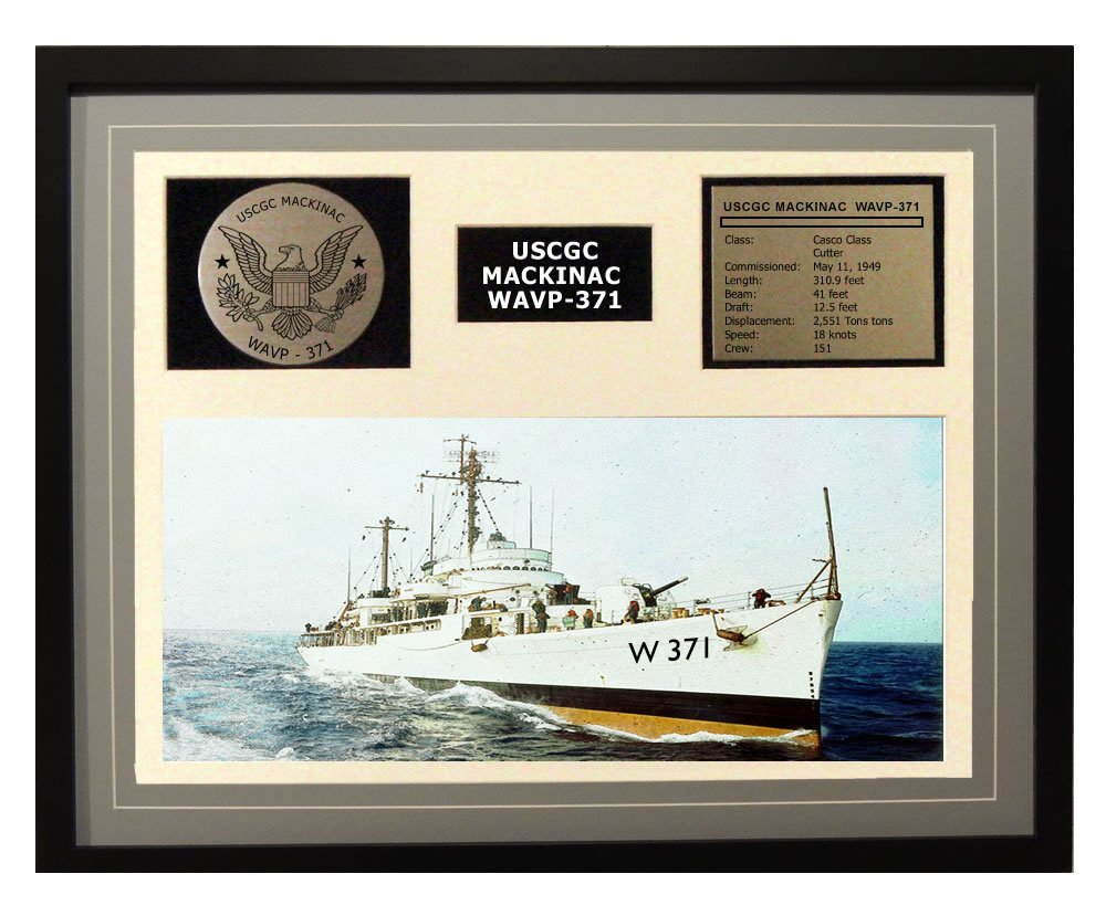 Amazon.com: USCGC Mackinac WAVP-371 Framed Coast Guard Ship Display Blue: Posters & Prints