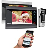 TMEZON Wireless Wifi Smart IP Video Door Phone Intercom System Doorbell Entry 2 Monitor 7 Inch with 1200TVL Wired…