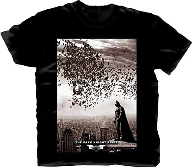 4199b53bb Amazon.com: Batman: The Dark Knight Rises City Bats Adult T-Shirt ...