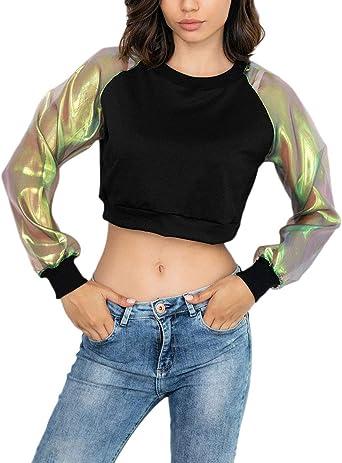 Crop Tops Mujer Verano Elegantes Chic Manga Larga Splice Proteccion Solar Camisas Fashion Básico Bonita Cuello Redondo Sin Barriga Camiseta Blusa: Amazon.es: Ropa y accesorios