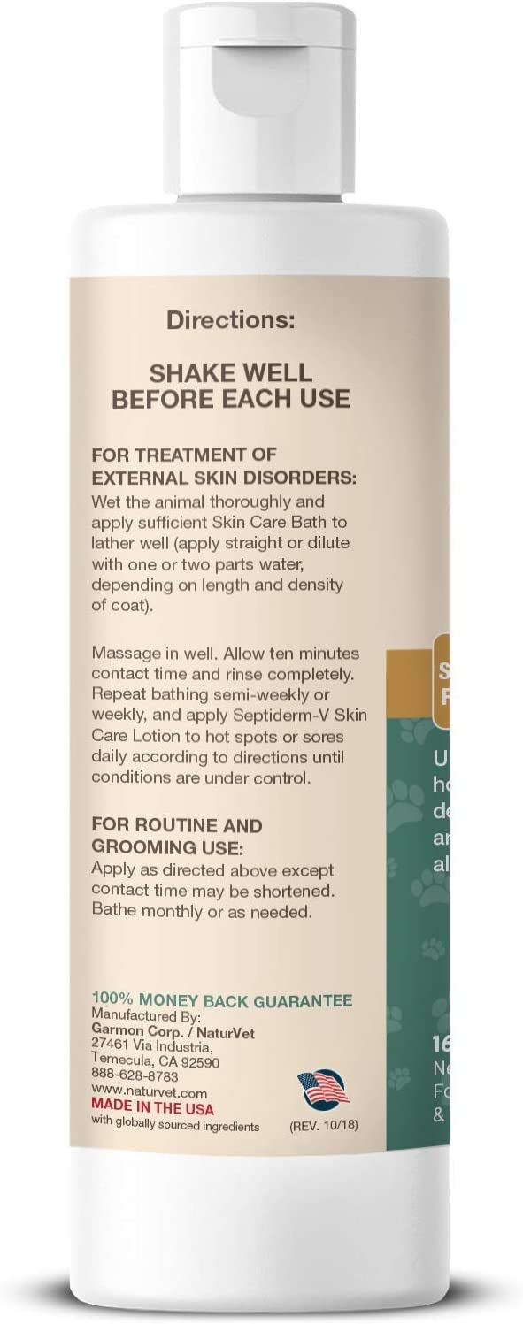 Amazon.com : NaturVet – Septiderm-V Skin Care Bath – Helps Relieve Itching  Due to Skin Problems – Use for Hot Spots, Dermatitis & Skin Allergies – for  Dogs & Cats – 16