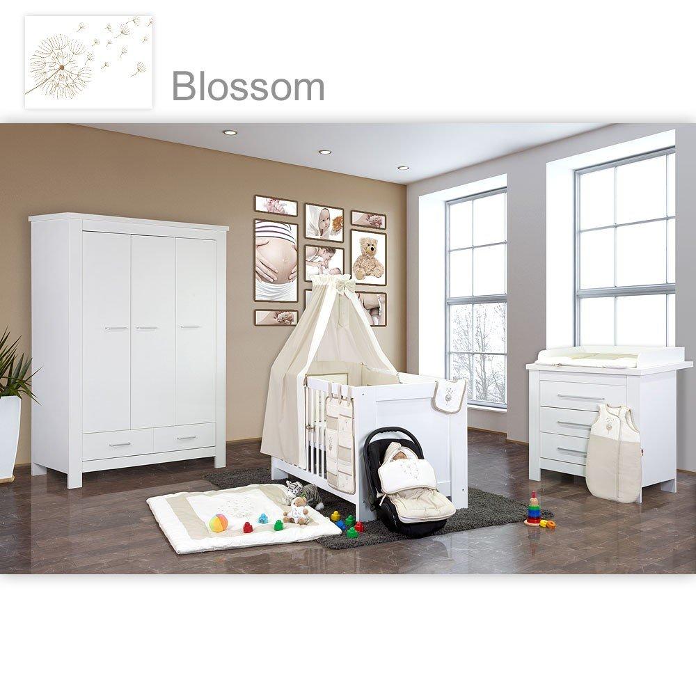 Babyzimmer Enni in weiss 10 tlg. mit 3 türigem Kl. + Textilien von Blossom in Beige